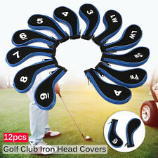 12Pcs/set Blue Golf Clubs Iron Head Covers Headcovers With Zipper Long Neck US