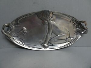 WMF Art Nouveau silver plate dressing table tray.
