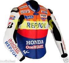 DANI PEDROSA MOTORBIKE MOTORCYCLE HONDA REPSOL BLUE ONE HEART LEATHER JACKET