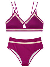 Victoria's Secret swim set Mesh Strappy Crop top highwaist bikini purple bottom