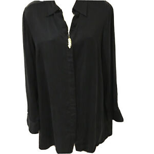 100% Silk PURE collection Black Silk Shirt Size 14
