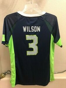 Russell Wilson Seahawks  Women'sDraft Him Top BlueSmall NEW