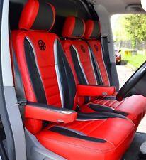VW Transporter T5 Raceline Design Van Seat Covers Red & Black Genuine fitting