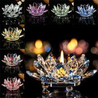 Crystal Glass Lotus Flower Candle Tea Light Holder Buddhist Candlestick