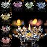 7 Colors Crystal Glass Lotus Flower Candle Tea Light Holder Candlestick Decor M0