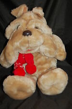 "Christmas Krinkles Tan Dog Red Scarf Vintage 1984 Target Plush 20"" Toy Lovey"