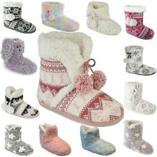 New Ladies Slip On Slipper Boots Warm Fleece Fur Lined Ankle Booties Bootee