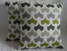 "16"" Cushion Cover Lime Green Grey Cream Retro Print Handmade New 40cm"
