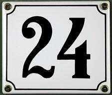 """Weiße Emaille Hausnummer """"24"""" 14x12 cm Hausnummernschild sofort lieferbar Schild"""