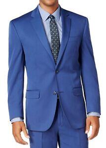 Sean John Mens Suit Jacket Blue Size 38 Short Stretch Two-Button Blazer $360 004