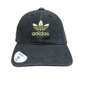 Adidas Womens Black Denim Gold Trefoil Strapback Hat NEW One Size 141782C