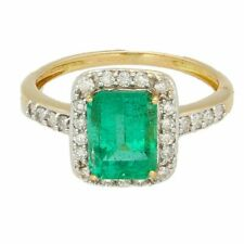 18Carat Yellow Gold 1.75ct Emerald & 0.25ct Diamond Halo Cluster Ring (Size L)