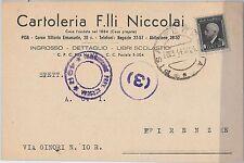 ITALIA REGNO  - Storia Postale - MARCA DA BOLLO Sass 23 su CARTOLINA 1944