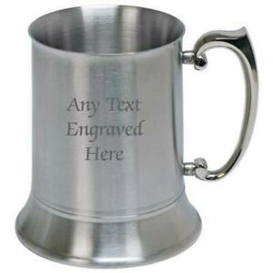 Personalised Engraved Stainless Steel US 1 Pint Tankard 500ml  Any Text You Want