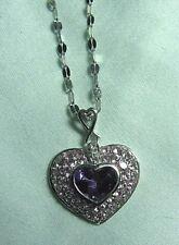 10K Gold Heart Pendant w Amethyst & Sapphire on 14K Chain