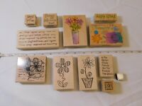 Lot of Misc Wood Mount Stamp Set includes 12 rubber stamps Scrapbooking Flowers