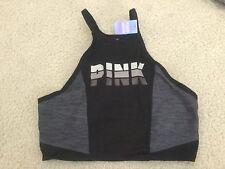 NWT Victoria's Secret Pink Ultimate Longline High-Neck Sports Bra Size L Black