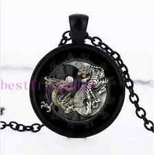 Ying and Yang Tiger Dragon Glass Dome Black Necklace for men woman Jewelry