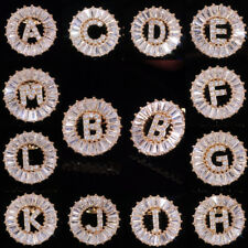 26 Letters Stud Earrings for Women 18k Yellow Gold Plated White Sapphire A Pair
