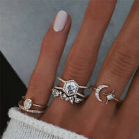 Fashion 5Pcs/Set Crystal Gold Star Moon Knuckles Rings Bohemian Midi Finger Ring