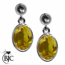Sterling Silver Citrine Butterfly Stud Fine Gemstone Earrings