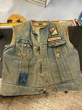 Vtg 70's Harley Chopper Jean Jacket Vest Sleeveless Patches Pins Patina Xlch Lee