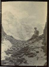 PHOTO ANCIENNE - VINTAGE SNAPSHOT - MONTAGNE FEMME MODE LAUBERHORN SUISSE 1906