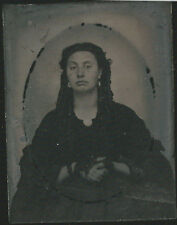 CIVIL WAR ERA AMBROTYPE PHOTOGRAPH PENSIVE WOMAN WITH GYPSY STYLE LOOK