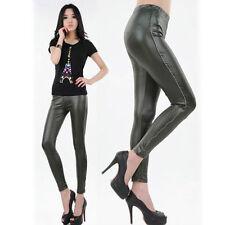 Fashion Women's Metallic Zipper Side Seam Wet Look Leggings Slim Tight Pants OS