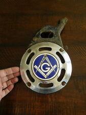 "Delco Remy 34 Pancake Horn Blue Lodge Masons 3rd Deg  ""G"" Cloisonne 1933 WORKING"