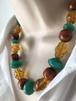 Vintage Art Deco Yellow Green Czech Moulded Amber Glass Necklace Gablonz Neiger