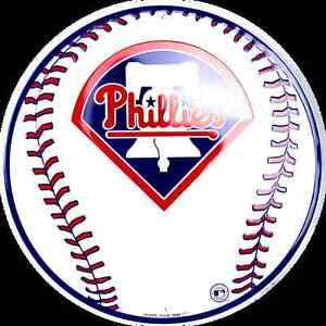 "PHILADELPHIA PHILLIES 12"" ROUND METAL BASEBALL SIGN MAN CAVE SPORTS ROOM SIGN"