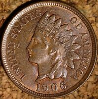 1906 Indian Head Cent - AU+ SNOW-5, REPUNCHED DATE - ORIGINAL LUSTER (H530)