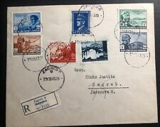 1943 Zagreb Croatia Germany Cover Locally Used Scott #B37 ! Souvenir Sheet