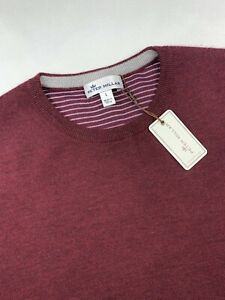 Peter Millar Crown Comfort Cashmere Pullover Sweater Burgundy Size Large $295