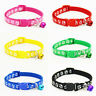 12Pcs Pet Dog Adjustable Collars With Bell Puppy Cat Reflective Collar Necklace