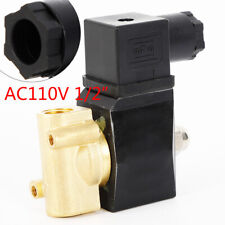 12 Ac 110v Brass Electric Solenoid Valve For Water Oil Air Gas Fuel Npt Nc