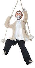 "17"" Hanging Animated Swinging Reaper Skeleton on Swing Halloween Decoration Prop"