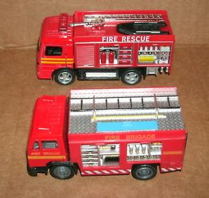 Two 1/43 Scale Fire Rescue Box Truck Diecast Models Emergency Brigade Unit FD