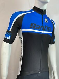 Santini Mens Sizing Sample Cycling Jersey in Blue/Black/White Made in Italy-Sz L