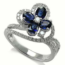 18k Solid White Gold Natural Diamond & Sapphire Flower Ring #R751