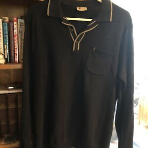 Mens Gabicci Long Sleeved Knitted Polo Size L