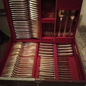 Broggi Milano - Servizio posate per 12 persone, argento. mancano 5 cucchiaini...