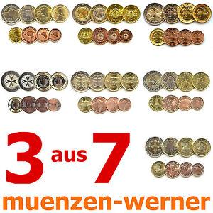 3 aus 7 KMS neue Euro•Münze•Länder Kursmünzen Satz 1c-2€ Eurosatz Münzensatz Set