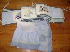 Tiddliwinks Baby Bumper & Skirt Blue Train Car Plane Crib Nursery