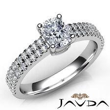 Cushion Diamond U Shape Prong Set Engagement Ring GIA F VVS2 Platinum 950 0.8Ct