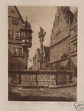 Ernst Geissendörfer Rothenburg Tauber Brunnen Georg Drachen Fountain Bayern