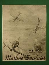 1957 PUB MORANE-SAULNIER PUTEAUX MS 1500 BIPLACE OBSERVATION ORIGINAL FRENCH AD