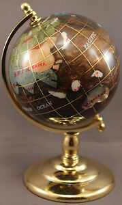 Multi-Gemstone 90mm Desktop Globe in Copper / Brown - Gold Tone Base Free S&H