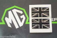 MGF MG F MGTF MG TF  Union Jack x2 Stickers Black & Silver mgmanialtd.com